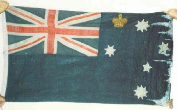 [Photo of 1877 Victorian Ensign formed from an 1870 ensign by adding a crown]