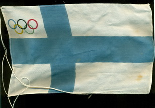 Finnish flag with Olympic rings