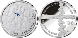 finnish coin with flag