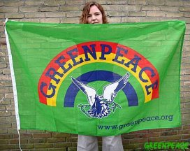 [Previous Greenpeace flag, prior to 2007]